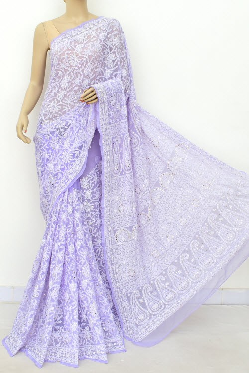 Lavender Allover Hand Embroidered with Fine Mukaish Work Lucknowi Chikankari Saree (With Blouse - Faux Georgette) 15029 (A Bridal Collection)