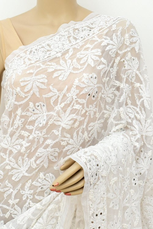 White Allover Hand Embroidered with Fine Mukaish Work Lucknowi Chikankari Saree (With Blouse - Faux Georgette) 15030 (A Bridal Collection)
