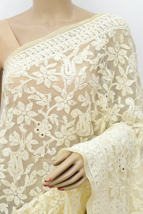Cream Allover Hand Embroidered with Fine Mukaish Work Lucknowi Chikankari Saree (With Blouse - Faux Georgette) 15031 (A Bridal Collection)