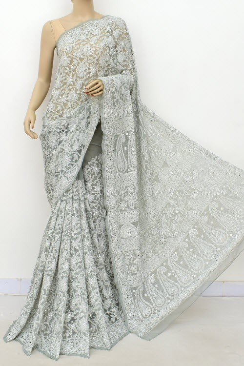 Grey Allover Hand Embroidered with Fine Mukaish Work Lucknowi Chikankari Saree (With Blouse - Faux Georgette) 15032 (A Bridal Collection)