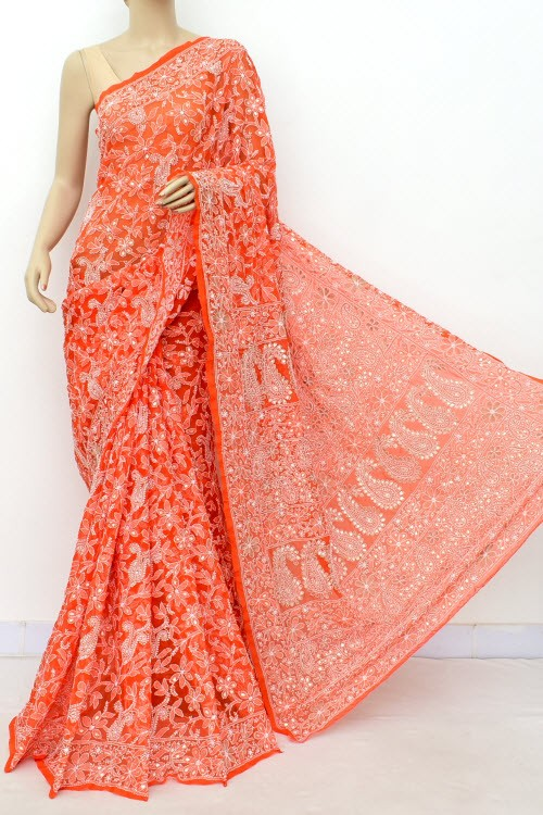 Orange Allover Gota Patti + AddOn Work Hand Embroidered Lucknowi Chikankari Saree (With Blouse - Faux Georgette) 15034 (A Bridal Collection)