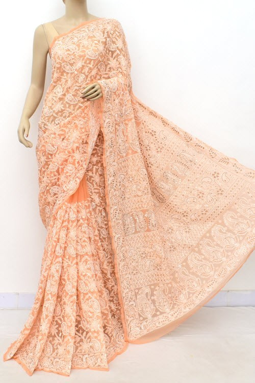Peach Allover Gota Patti + AddOn Work Hand Embroidered Lucknowi Chikankari Saree (With Blouse - Faux Georgette) 15035 (A Bridal Collection)
