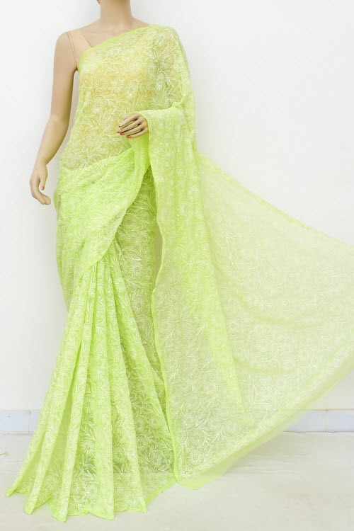 Pista Green Hand Embroidered Allover Tepchi Work Lucknowi Chikankari Saree (Georgette) 15036