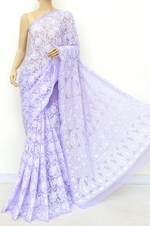 Lavender Allover Hand Embroidered Lucknowi Chikankari Saree (With Blouse - Georgette) 15041