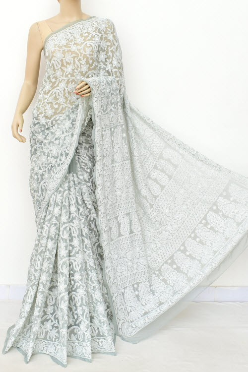 Grey Allover Hand Embroidered Lucknowi Chikankari Saree (With Blouse - Georgette) 15042
