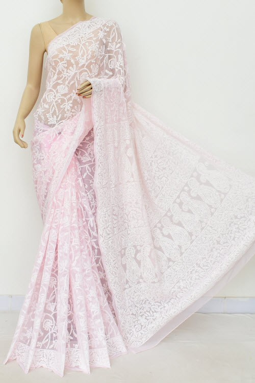 Baby Pink Allover Hand Embroidered Lucknowi Chikankari Saree (With Blouse - Georgette) 15044