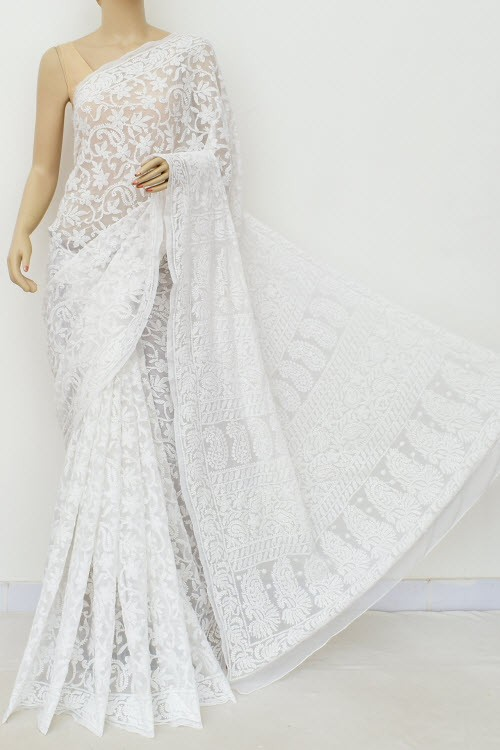 White Allover Hand Embroidered Lucknowi Chikankari Saree (With Blouse - Georgette) 15045