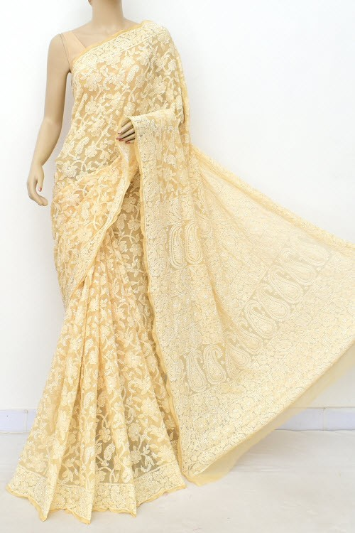 Fawn Allover Hand Embroidered Lucknowi Chikankari Saree (With Blouse - Georgette) 15046