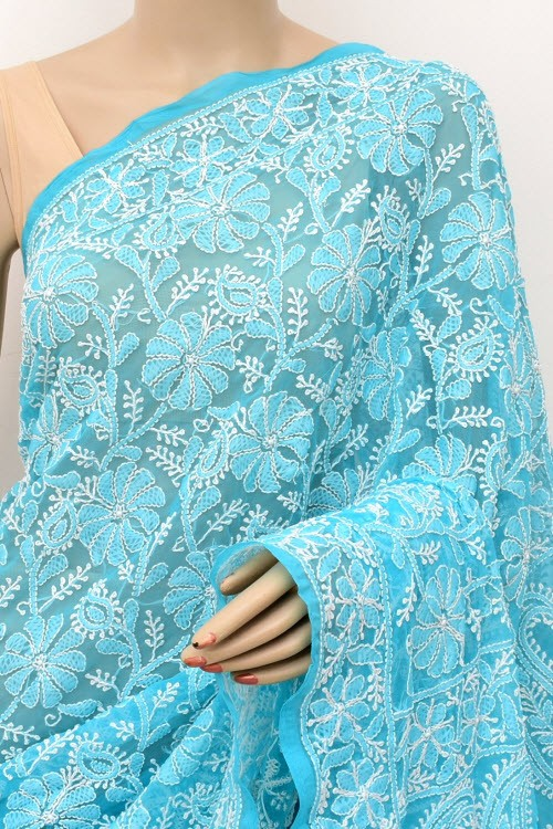 Pherozi Blue Allover Hand Embroidered Lucknowi Chikankari Saree (With Blouse - Georgette) 15047