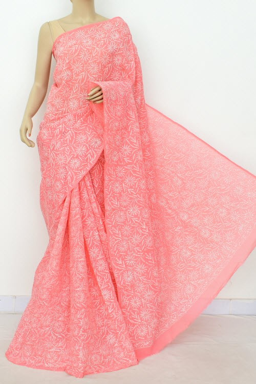 Peach Allover Hand Embroidered Tepchi Work Lucknowi Chikankari Saree (Without Blouse - Cotton) 15048