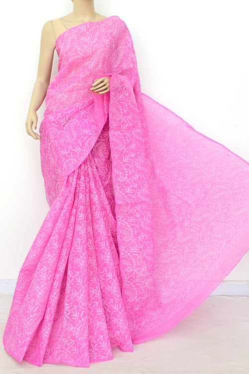 Onion Allover Hand Embroidered Tepchi Work Lucknowi Chikankari Saree (With Blouse - Cotton) 15050