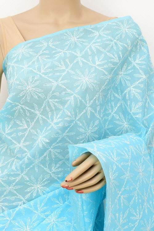 Sky Blue Allover Hand Embroidered Tepchi Work Lucknowi Chikankari Saree (With Blouse - Cotton) 15051