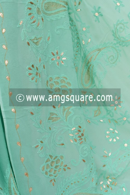 Sea Green Designer Hand Embroidered Lucknowi Chikankari Saree (With Blouse - Viscose Georgette) Gota-Patti Work 15213