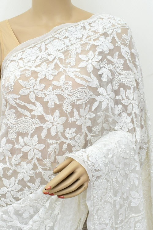 White Allover Moti Work Hand Embroidered Lucknowi Chikankari Saree (With Blouse - Faux Georgette) 15214 (A Bridal Collection)