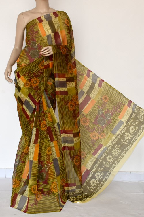 Menhdi Green Printed Kota Saree (With Blouse - Supernet) 15382