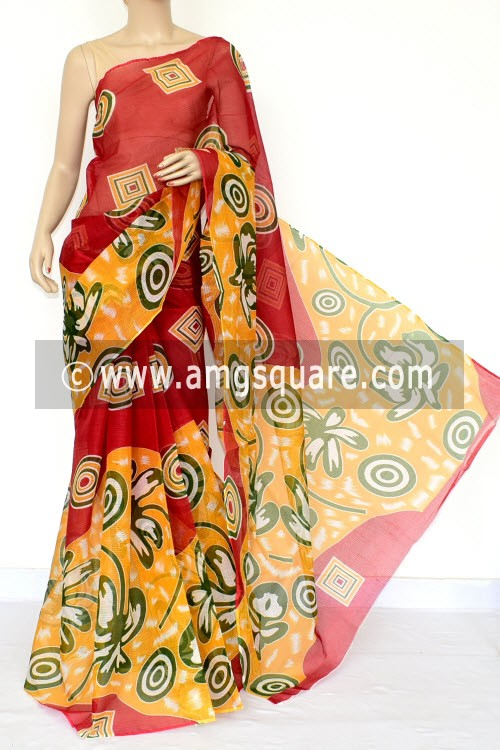 Yellow Red Premium Kota Doria Printed Cotton Saree (without Blouse) 15444