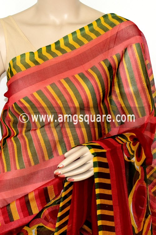 Red Kota Printed Saree (Without Blouse - Supernet) 15453