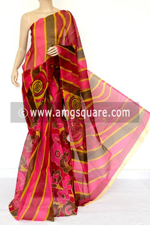Maroon Pink Green Kota Printed Saree (Without Blouse - Supernet) 15455