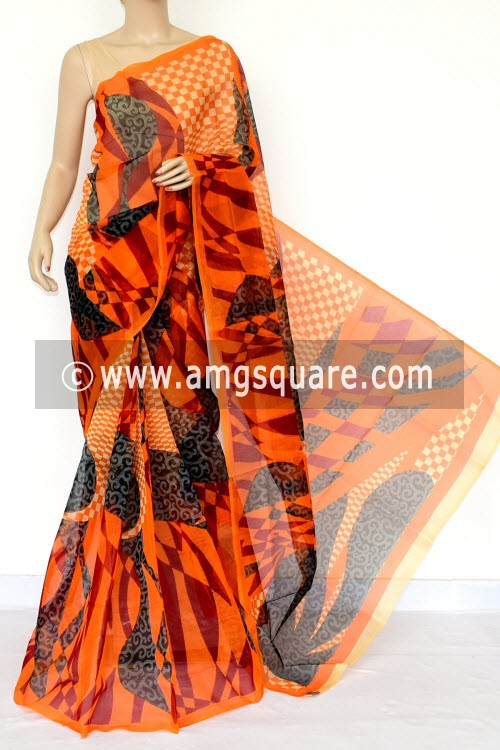 Orange Printed Kota Saree (Without Blouse - Supernet) 15461