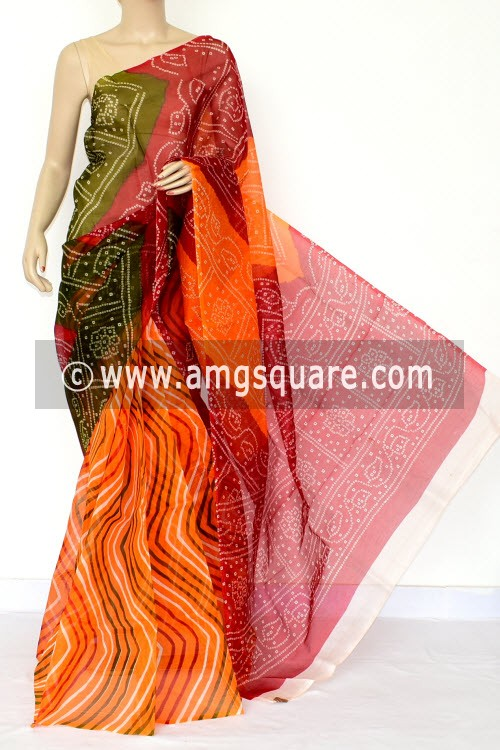 Multi-Color Chunri Print Kota Saree (Without Blouse - Supernet) 15464