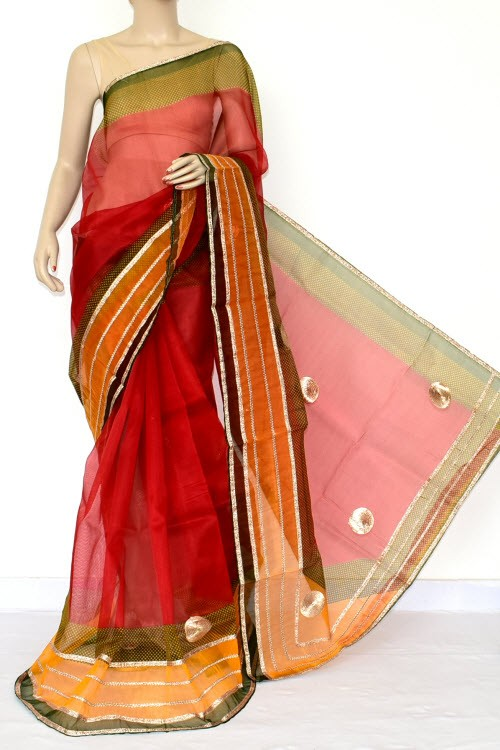 Red Green Kota Saree Gota Patti Work (Without Blouse - Cotton) 15466