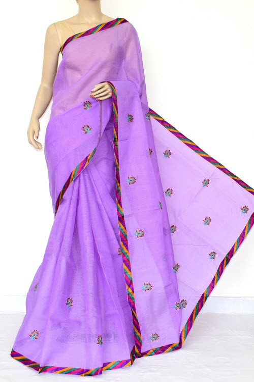 Lavender Embroidered Kota Saree (Without Blouse - Cotton) 15469