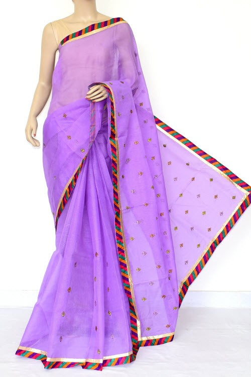 Lavender Embroidered Kota Saree (Without Blouse - Cotton) 15470