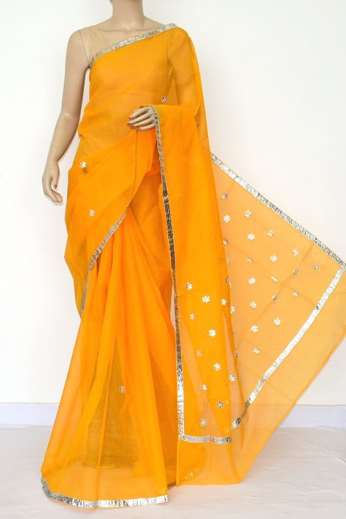 Yellow Kota Saree Gota Patti Work (Without Blouse - Supernet) 15472
