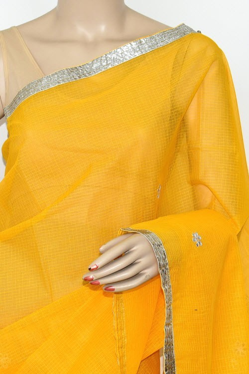 Yellow Kota Saree Gota Patti Work (Without Blouse - Supernet) 15473