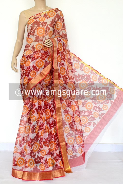 Red Orange JPKota Doria Printed Cotton Saree (without Blouse) Zari Border 15479