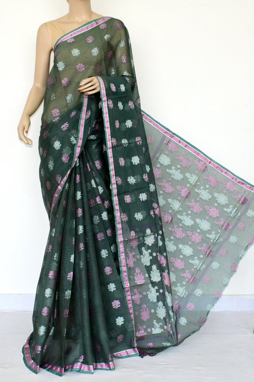 Bottle Green Exclusive Allover Resham Booti Kota Saree (With Blouse - Supernet) 15484