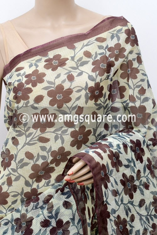 Purple Grey Premium JP Kota Doria Floral Print Cotton Saree (without Blouse) 15486