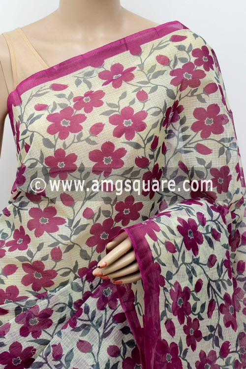 Maroon Grey Premium JP Kota Doria Floral Print Cotton Saree (without Blouse) 15489