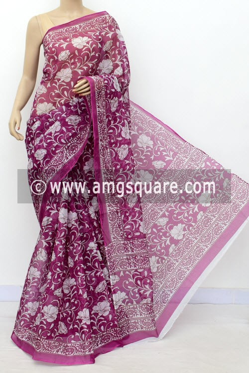 Purple Premium JP Kota Doria Floral Print Cotton Saree (without Blouse) 15494