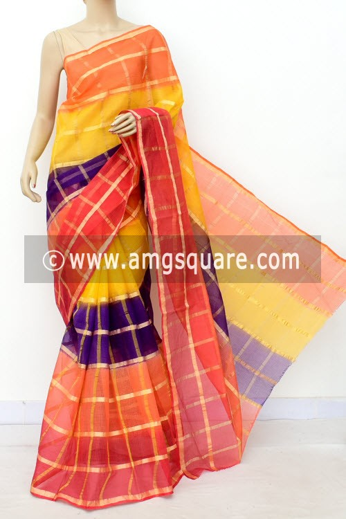 Multi-Color Kota Doria Allover Zari Check Cotton Saree (without Blouse) 15502