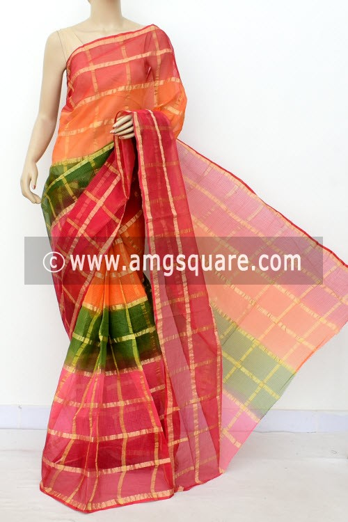 Multi-Color Kota Doria Allover Zari Check Cotton Saree (without Blouse) 15503