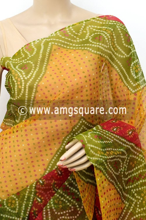 Yellow Green Premium JP Munga Kota Chunri Print Cotton Saree (without Blouse) 15509