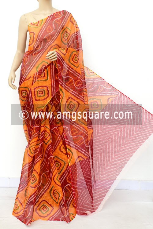 Orange Red Kota Doria Chunri Print Cotton Saree (without Blouse) 15513