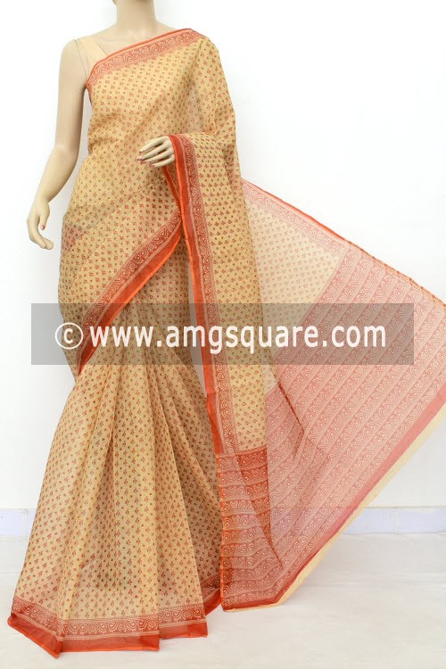 Rust Fawn JP Kota Doria Printed Cotton Saree (without Blouse) 15516