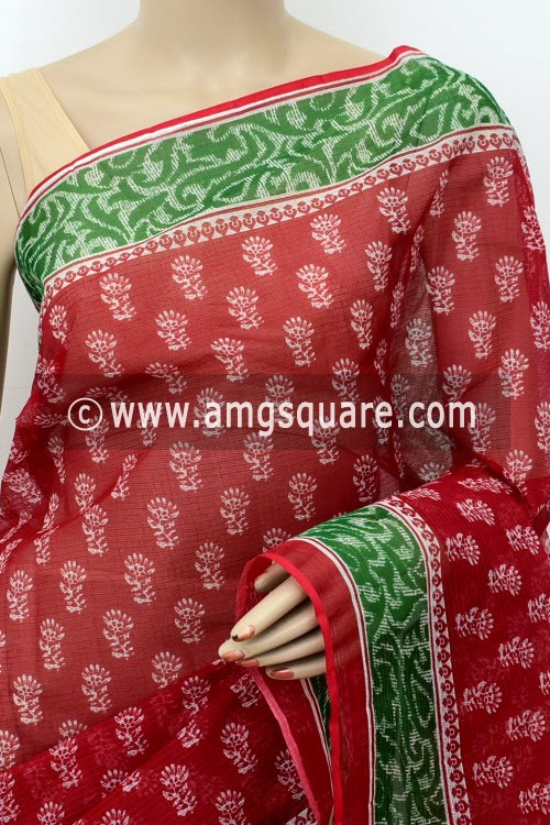 Red JP Kota Doria Printed Cotton Saree (without Blouse) Green Border 15520