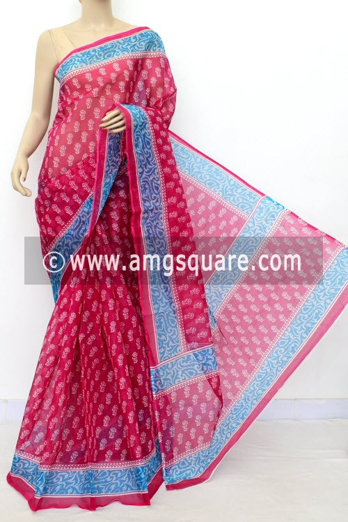 Rani Pink JP Kota Doria Printed Cotton Saree (without Blouse) Blue Border 15522