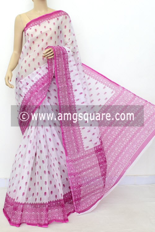 Magenta White JP Kota Doria Printed Cotton Saree (without Blouse) 15523