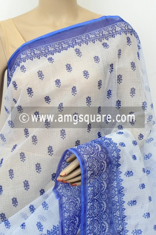 Blue White JP Kota Doria Printed Cotton Saree (without Blouse) 15524