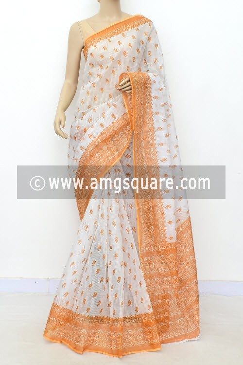 Mustard Yellow White JP Kota Doria Printed Cotton Saree (without Blouse) 15525