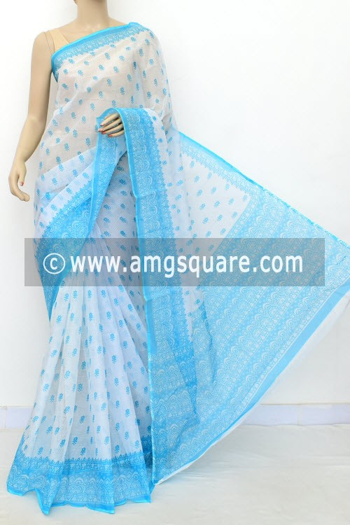 Pherozi Blue White JP Kota Doria Printed Cotton Saree (without Blouse) 15526