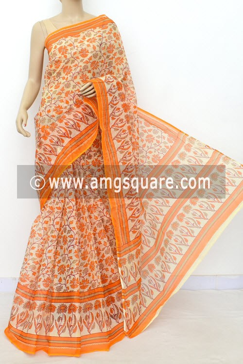 Orange Off White JP Kota Doria Floral Printed Cotton Saree (without Blouse) 15528