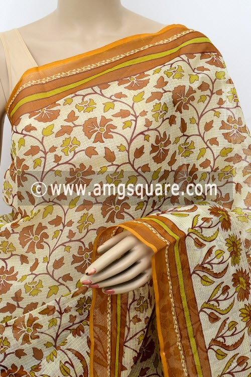 Mustard Yellow Off White JP Kota Doria Floral Printed Cotton Saree (without Blouse) 15530