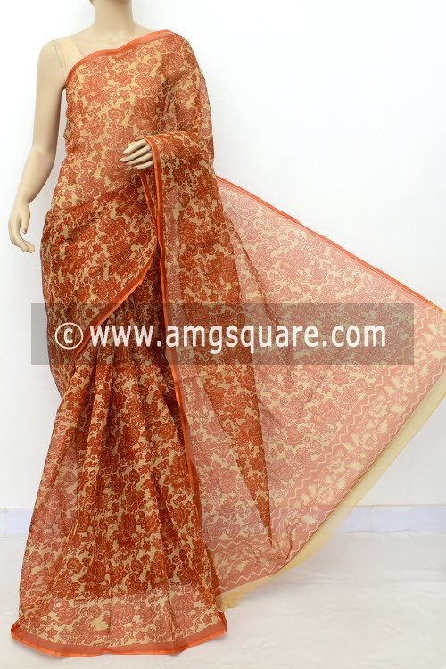 Rust Fawn JP Kota Doria Floral Printed Cotton Saree (without Blouse) 15533