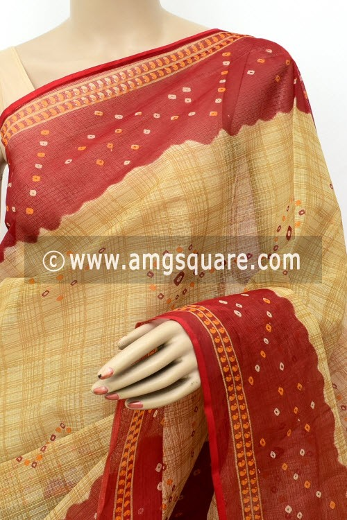 Red Fawn JP Kota Doria Chunri Print Cotton Saree (without Blouse) 15535