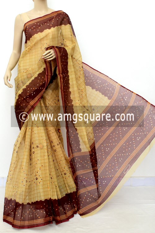 Maroon Fawn JP Kota Doria Chunri Print Cotton Saree (without Blouse) 15536